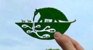 خلق آثار هنری حیرتانگیز روی برگ